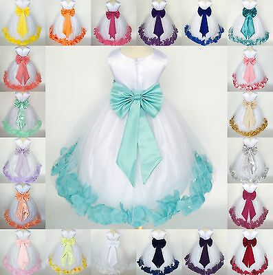 White Flower Girl Bridesmaid Bow Elegant Pageant Recital Petal Girl Dress #24