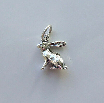 Hare Moon Gazing Pagan Goddess Wicca 3D Charm 925 Sterling Silver