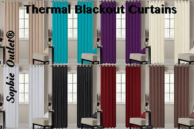 Blackout Ring Top Curtain Pair Of Thermal Curtain Window Curtains 66x72 & 90x90