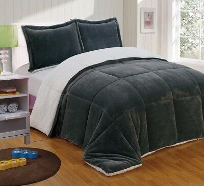 Chezmoi Collection 3pc Micro-mink Sherpa Down Alternative Comforter King, Gray