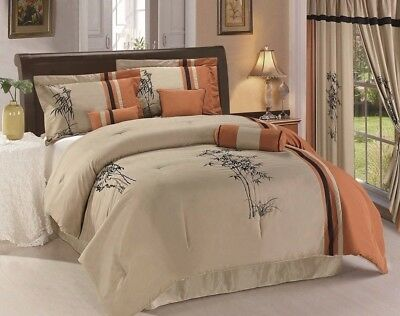 Chezmoi Collection 7pc Bamboo Embroidery Comforter Set King, Beige/Rust