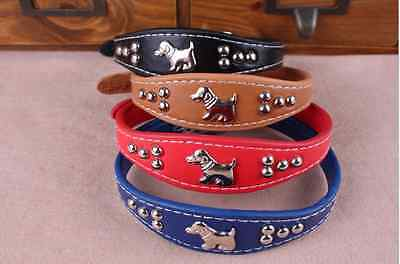 Small Dog Puppy Cat Pet PU Leather Adjustable Collar Necklace 4 Colors Choice