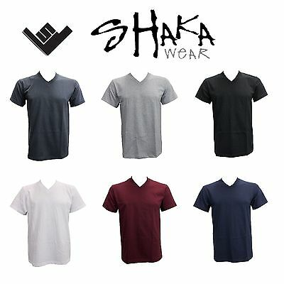 Men V Neck T Shirt Shaka  Plain Heavy Material  Multi-Color Size S~4Xl