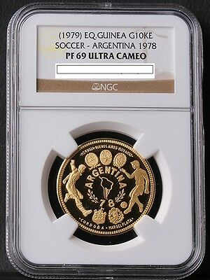 EQ.Quinea 1979 (1978 Argentina World cup) 10.000Ekuele Gold NGC PF69 Mintage 121
