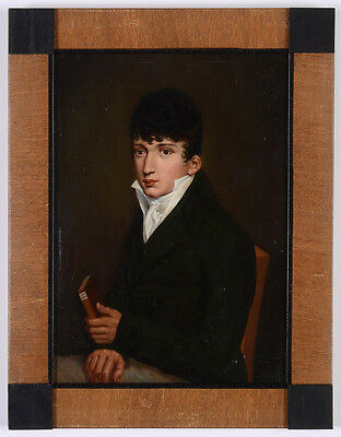 """S. Ferdinand v. Perger """"Portrait of a young gentleman"""", small oil painting, 1809"""