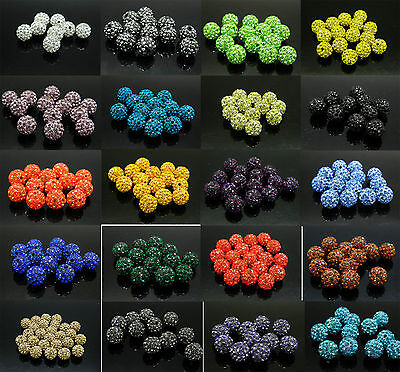 10Pcs Quality Czech Crystal Rhinestones Pave Clay Round Disco Ball Spacer Beads