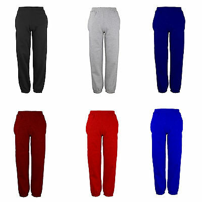 Age 3-15 Plain Jogging Bottoms Unisex Fleece P.E Cuffed Elastic Tracksuit