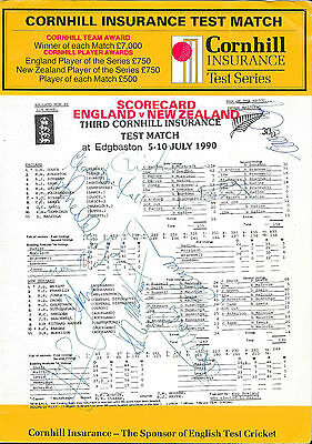 1990 - England v New Zealand, Test Match, Autographed Cricket Scorecard.
