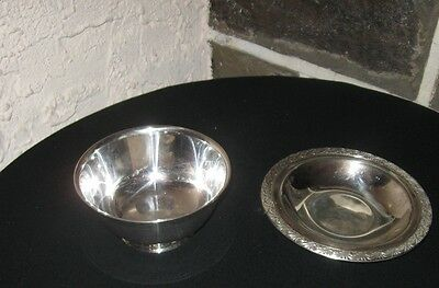 Silver plate bowl Paul Revere  Odeida silver and small dish Rogers old