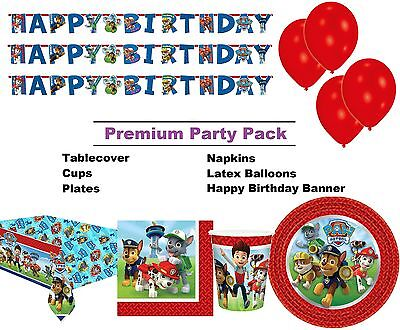 Paw Patrol Dog 8-48 Guest Premium Party Pack | Tableware | Balloons | Decoration