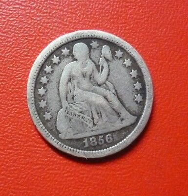 USA SILVER COIN One Dime, KMA63.2  F  1856