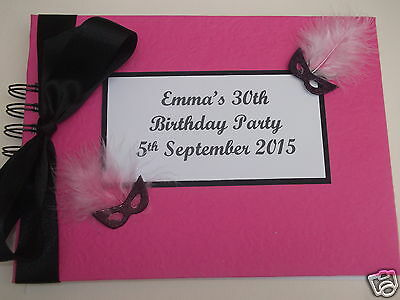 Hen Night Birthday Party Wedding Guest Book Pink & Black Masquerade Personalised
