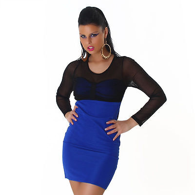 Womens Long Sleeve Sexy Mesh Bodycon Contrast Party Mini Dress size 8 10 12