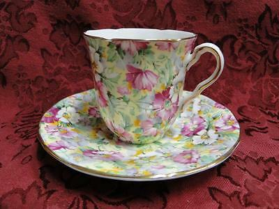 Adderley Lawley Shape, Chintz, Yellow Background: Demitasse Cup & Saucer Set (s)
