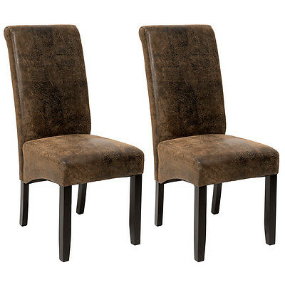 2 piece High quality synthetic leather dining chair seat antique suede look