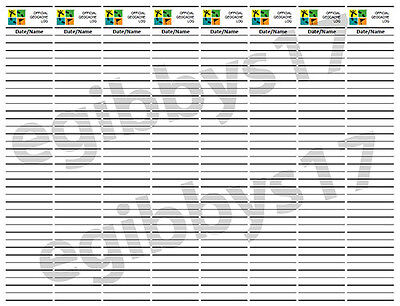 """GeoCache Log Sheet - 1.35"""" Wide - Print your Own!"""