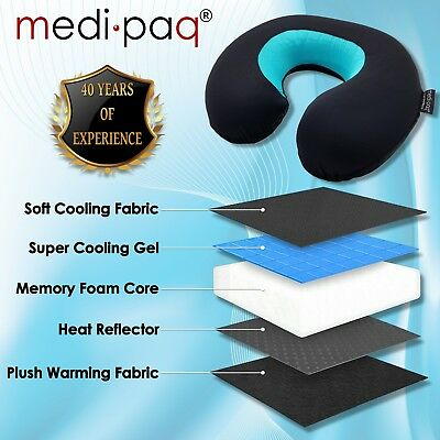 Luxury Memory Foam PLUS Gel Travel Neck Cushion - ThermaFlip WARM & COOL Pillow
