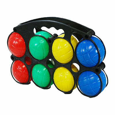 French Boules Set of 8 Plastic Balls Jack With Carry Case Garden Game New