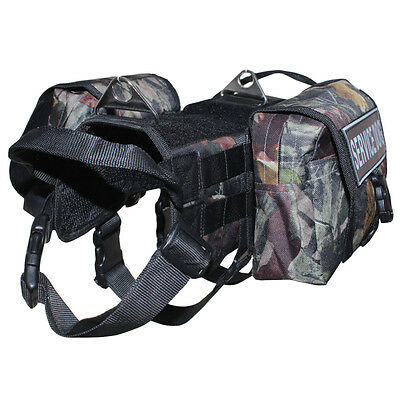 TACTICAL POLICE TRAINING Large DOG VEST HARNESS Side Bags & free 2 Patches