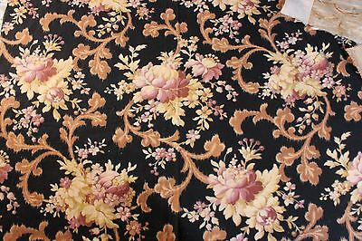 "French Pretty Warp Printed Floral & Scroll Antique Fabric c.1870-1890~22""LX30""W"