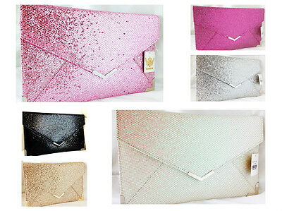 New Pale Pink Fuschia Silver Gold Glitter Envelope Evening Day Clutch Bag