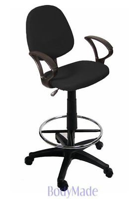 New Drafting Chair Stool Black Fabric Office w Arms