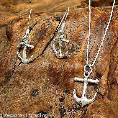 3D NAUTICAL BOAT ANCHOR 925 Sterling Silver Earrings and Necklace Jewelry Set