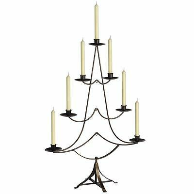 Christmas Tree 7 Candle Holder Large Free Standing Black Brass Metal 75Cm Tall