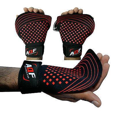 AQF Durahide Leather Weight Lifting Gel Palm Grips Gloves Wrist Support Strap