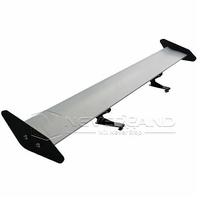 New Universal Lightweight Aluminum Rear Car AUTO GT Wing Racing Spoiler Silver