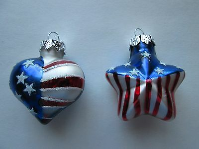 Vintage 1990s Christmas Ornaments-Lot of 2, Patriotic American red, white,blue