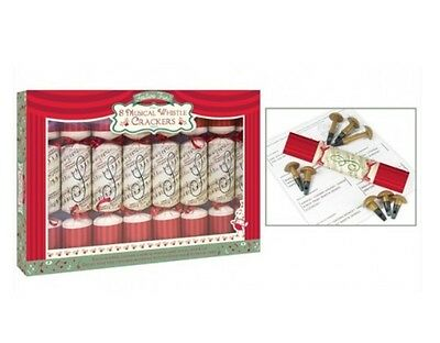 Pack Of 8 Musical Whistle Family Christmas Crackers Red & Cream 14 Tunes!