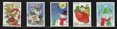 Japan 2007 Winter Greeting 80 Yen Comp. Set Of 5 Stamps In Fine Used Condition