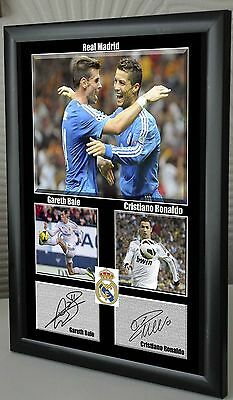 """Cristiano Ronaldo Gareth Bale Real Madrid Framed Canvas Print Signed """"Great Gift"""
