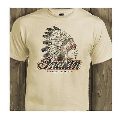 Indian  Chief Motorcycle Classic Biker USA Distressed Print Natural T-Shirt