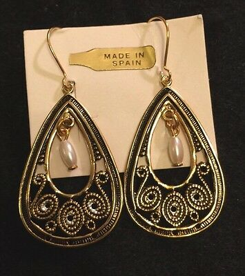 Vintage Toledo Spain Oval Filigree Pearl Pierce Earrings 24K GP Damascene Style