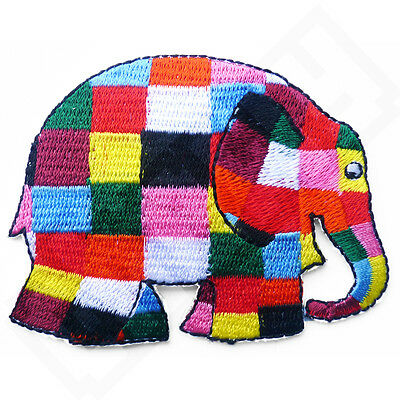 Elmer the Elephant Iron Sew On Embroidered Patch Badge Tshirt Transfer