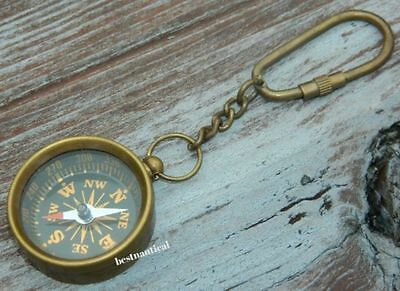 BEAUTIFUL Compass Solid Brass Key chains'& ANTIQUE Finish
