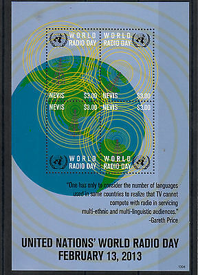 Nevis 2013 MNH United Nations World Radio Day 4v M/S Gareth Price