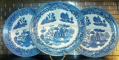 """Vintage Blue Willow Set Of 3 Made In Japan Divided Round Dinner Plates 10"""""""