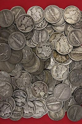 MAKE OFFER 2 Standard Ounces Mercury Dimes 90% Silver Junk Coins US Bullion