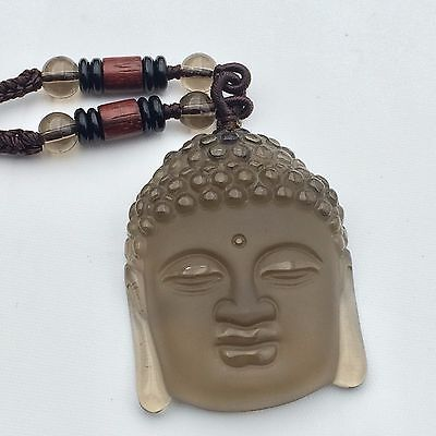 ICY Obsidian Natural Quartz crystal Buddha Head Statue Pendant Healing 100213