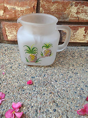 Frosted Pitcher w/ Handpainted Pineapples and Starburst bottom