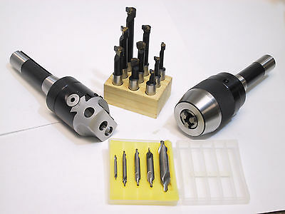 "2"" Boring Head R8 Shank and 1/2"" Kayless Drill Chuck R8 Shank Set Combo"