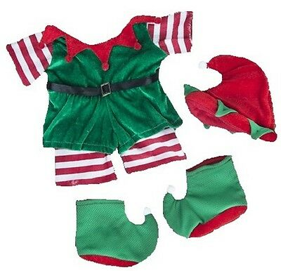 """CHRISTMAS GREEN & RED ELF OUTFIT FOR 16""""/40cm TEDDY BEARS & BUILD YOUR OWN BEARS"""