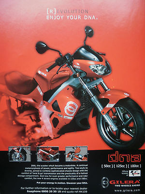 GILERA DNA # ORIGINAL VINTAGE MOTORCYCLE ADVERT # 12 x 9 INCH