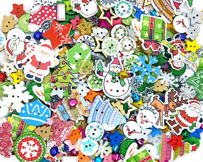 50g Christmas Mixed Buttons (Wooden Trees, Stockings, Snowflakes, Glitter, Star)