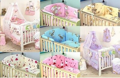 7 Pcs Baby Bedding Set To Fit Cot& Cot Bed Duvet Cover Bumper Canopy+Holder+More