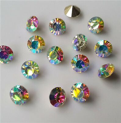 100 pcs 4mm High quality AB Crystal beads Point back Rhinestones Resin Chatons