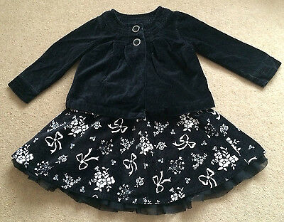 Carter's Girls Autumn / Winter Outfit - Skirt & Top - Black Velour 3 yrs (2-3)